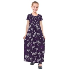 Tropical Pattern Kids  Short Sleeve Maxi Dress