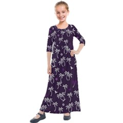 Tropical Pattern Kids  Quarter Sleeve Maxi Dress