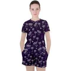 Tropical Pattern Women s Tee And Shorts Set