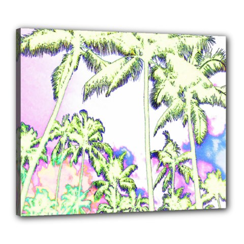 Palm Trees Tropical Beach Scenes Coastal Sketch Colored Neon Canvas 24  X 20