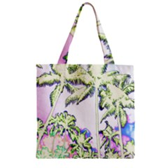 Palm Trees Tropical Beach Scenes Coastal Sketch Colored Neon Zipper Grocery Tote Bag