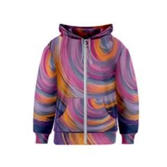 Purple Circles Swirls Kids  Zipper Hoodie