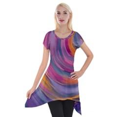 Purple Circles Swirls Short Sleeve Side Drop Tunic by flipstylezdes