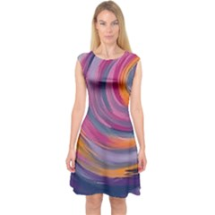 Purple Circles Swirls Capsleeve Midi Dress