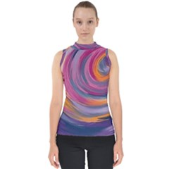 Purple Circles Swirls Shell Top
