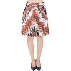Watercolor Native Zig Zags Velvet High Waist Skirt
