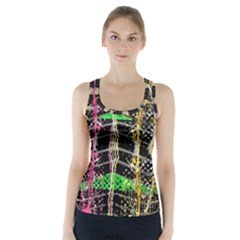 Pink Green Paint Battle And Black Lightning  Zigzag Racer Back Sports Top