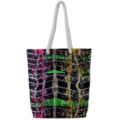Pink Green Paint Battle And Black Lightning  Zigzag Full Print Rope Handle Tote (small)