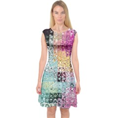 Abstract Butterfly By Flipstylez Designs Capsleeve Midi Dress