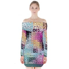 Abstract Butterfly By Flipstylez Designs Long Sleeve Off Shoulder Dress