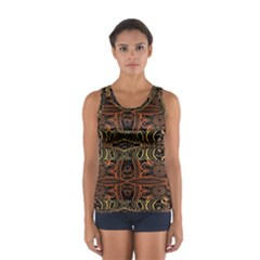 Brown And Gold Aztec Design  Sport Tank Top