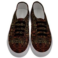 Brown And Gold Aztec Design  Men s Classic Low Top Sneakers