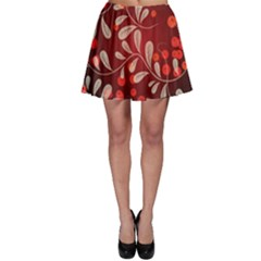 Beautiful Black And Red Florals  Skater Skirt