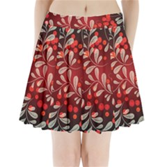 Beautiful Black And Red Florals  Pleated Mini Skirt