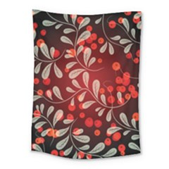 Beautiful Black And Red Florals  Medium Tapestry