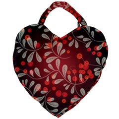 Beautiful Black And Red Florals  Giant Heart Shaped Tote