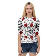 Beautiful Red Flowers Seamless Quarter Sleeve Raglan Tee