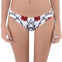 Beautiful Red Flowers Seamless Reversible Hipster Bikini Bottoms