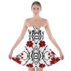 Beautiful Red Flowers Seamless Strapless Bra Top Dress