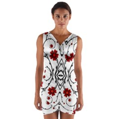 Beautiful Red Flowers Seamless Wrap Front Bodycon Dress
