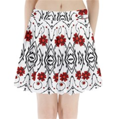 Beautiful Red Flowers Seamless Pleated Mini Skirt