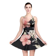 Beautiful Tropical Black Pink Florals  Reversible Skater Dress