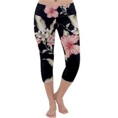 Beautiful Tropical Black Pink Florals  Capri Yoga Leggings