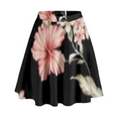 Beautiful Tropical Black Pink Florals  High Waist Skirt