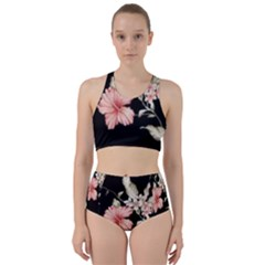 Beautiful Tropical Black Pink Florals  Racer Back Bikini Set