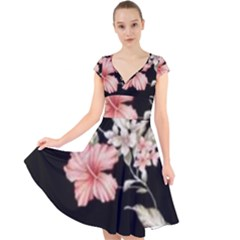 Beautiful Tropical Black Pink Florals  Cap Sleeve Front Wrap Midi Dress