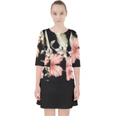 Beautiful Tropical Black Pink Florals  Pocket Dress