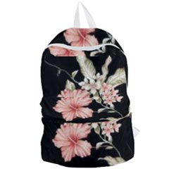 Beautiful Tropical Black Pink Florals  Foldable Lightweight Backpack by flipstylezdes