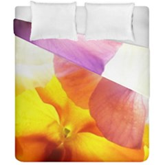 Big Colorful Tropical Yellow And Purple  Duvet Cover Double Side (california King Size)