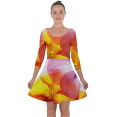 Big Colorful Tropical Yellow And Purple  Quarter Sleeve Skater Dress