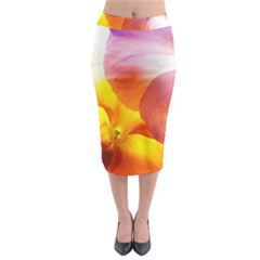 Big Colorful Tropical Yellow And Purple  Midi Pencil Skirt