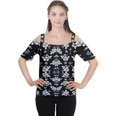 Black And White Florals Background  Cutout Shoulder Tee by flipstylezdes