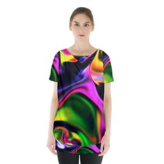 Colorful Smoke Explosion Skirt Hem Sports Top