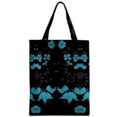 Blue Green Back Ground Floral Pattern Zipper Classic Tote Bag