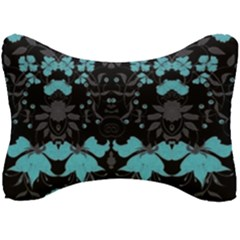 Blue Green Back Ground Floral Pattern Seat Head Rest Cushion