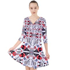 Creative Geometric Red And Black Design Quarter Sleeve Front Wrap Dress