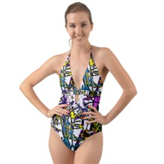 Graffiti Wall Cartoon Style Art Halter Cut Out One Piece Swimsuit