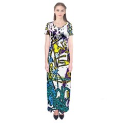 Graffiti Wall Cartoon Style Art Short Sleeve Maxi Dress