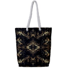Golden Florals Pattern  Full Print Rope Handle Tote (small)