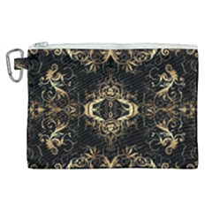 Golden Florals Pattern  Canvas Cosmetic Bag (xl)