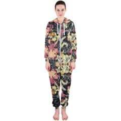 Beautiful Seamless Brown Tropical Flower Design  Hooded Jumpsuit (ladies)