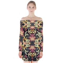 Beautiful Seamless Brown Tropical Flower Design  Long Sleeve Off Shoulder Dress