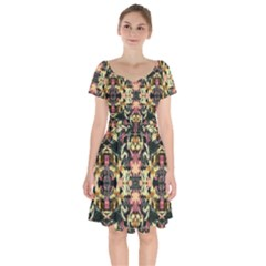 Beautiful Seamless Brown Tropical Flower Design  Short Sleeve Bardot Dress