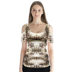Gorgeous Brown Rustic Design By Kiekie Strickland Butterfly Sleeve Cutout Tee