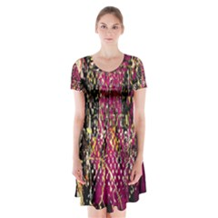 Multi Pattern Purple Gold Silver Lighting Icons Created By Kiekie Strickland  Short Sleeve V Neck Flare Dress