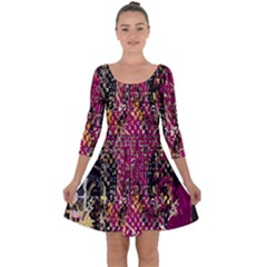 Multi Pattern Purple Gold Silver Lighting Icons Created By Kiekie Strickland  Quarter Sleeve Skater Dress